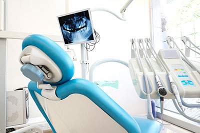 A dental chair like the ones at Bryan Hill, DDS in Spokane, WA